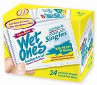 WET ONES Moist Towelette, Antibacterial, Citrus, Singles 24 ea
