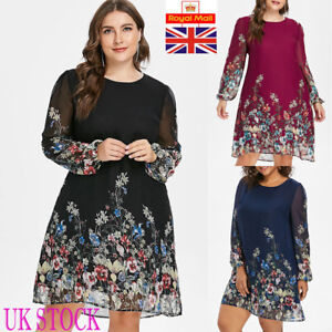Uk Floral Ladies Festa manica festa Dress Womens Size Plus lunga Casual q6qwRC4