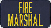 Fire Marshal Gold On Navy Blue Back Panel Patch 9 X 5, 9 By 5
