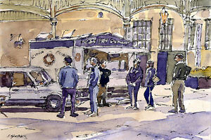 Donut-Stand-POSTCARD-Steve-Greaves-Painting-Art-Doughnut-Watercolour-Card