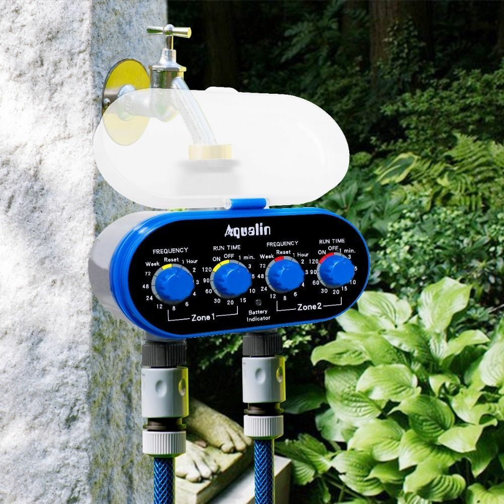 Automatic Watering Timer Electronic Ball Valve Two Outlet Home Garden Irrigation