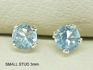 AQUAMARINE-925-STERLING-SILVER-STUD-EARRINGS-ROUND-3MM-CREATED-AQUAMARINE-sk1027