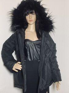 Trim Frakke Fur Faux 229 S Parka Hættetrøje Nye Overdimensioneret M Jakke H Kvinder M Sort UxwAnzPqC
