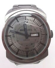 Mens Diesel Watch DZ1472 Gray Stainless Steel Band Needs New Battery or Repair