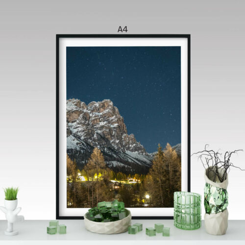 Beautiful mountain range in the night to forest A0 A1 A2 A3 A4 Poster a4540h