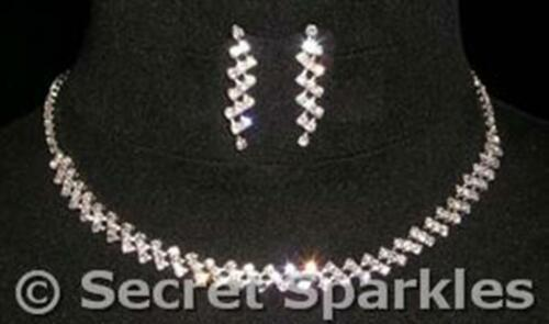 Dainty sterling silver plate diamante diamonte crystal double edge zig zag set