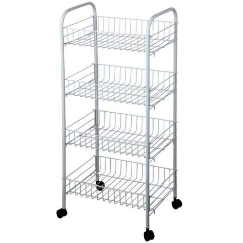 3// 4 Tier Kitchen Trolley Wheeled Cart Vegetable Rack Fruit Basket Storage Unit