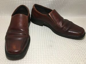 e7932184dd Details about Ecco Men's Loafers Leather Brown Slip On Square Toe Comfort  Dress Shoe Sz 13