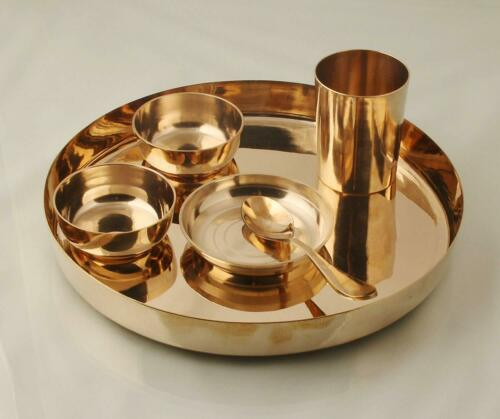 Bronze Utensil 6 Piece Dinner Thali Set Indian Stylish Handmade Utensils