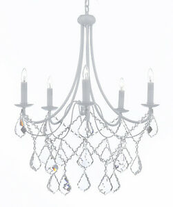 Wrought iron crystal white chandelier lighting country french image is loading wrought iron crystal white chandelier lighting country french aloadofball Images