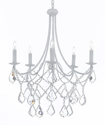 Wrought Iron Crystal White Chandelier Lighting Country French