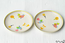 """NEW Set of 2 Hand Painted Ceramic Salad Plates 18cm 7"""" Farm Animals Country Chic"""