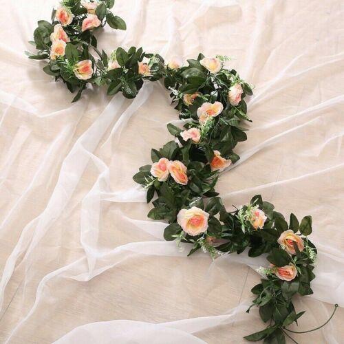 Long String Artificial Big Rose Floral Vine Ivy Fake Flower Garland Decor 2.4m