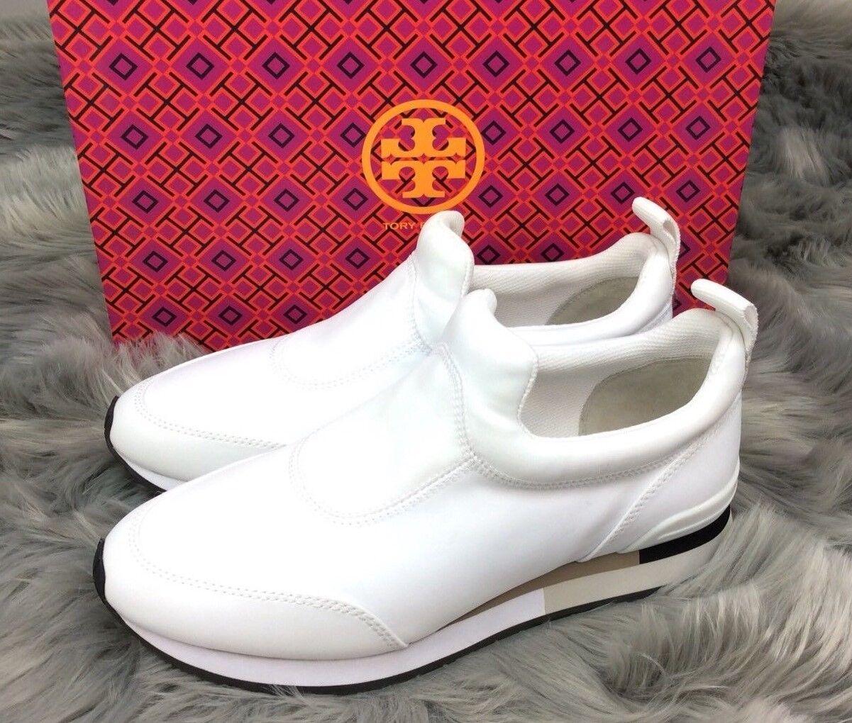 Tory Burch Weiß Laney Runner Platform Wedge Weiß Burch Leder Sneakers Slip On Größe 10 70c143