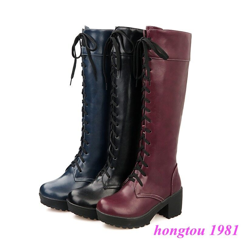 Stylish Womens Military Lace Up Knee High Boots Chunky Heels Knight Riding shoes
