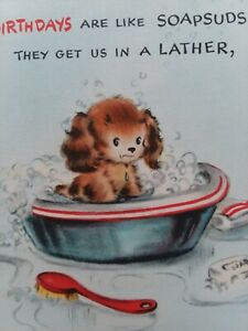UNUSED-Vtg-PUPPY-Bath-BIRTHDAY-Like-SOAPSUDS-1940-50s-Hall-Bros-GREETING-CARD