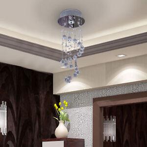 Crystal-Ceiling-Light-Chandelier-Lamp-Shade-Spiral-Rain-Drop-Metal-Silver