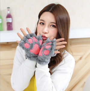 Warm Fingerlose Handschuhe Handstulpen Mädchen Damen Katze Pfote Stulpen Grau