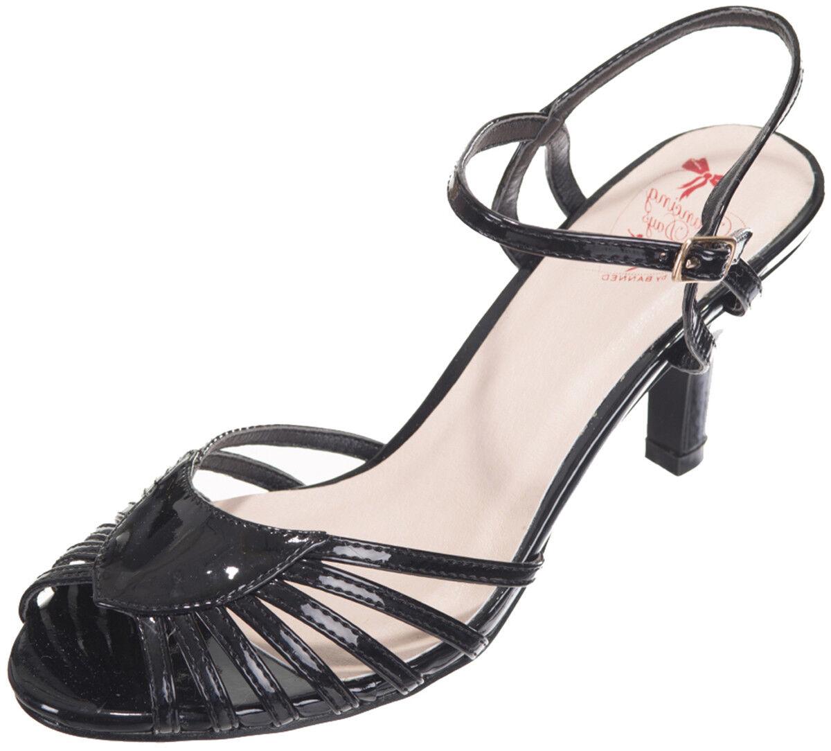 Dancing Days Amelia con tiras PEEP TOE vintage tacón alto zapatos de salón rockabilly