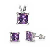 Faceted Amethyst .925 Sterling Silver Earrings & Pendant Set on sale
