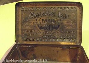 Ancienne-Boite-Biscuit-Publicitaire-Metal-Maison-IXE-PARIS