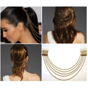 Hearty Miss Talia Clothing, Shoes & Accessories Girls/ladies Metal Hair Chain Comb Silver/gold Girls' Accessories
