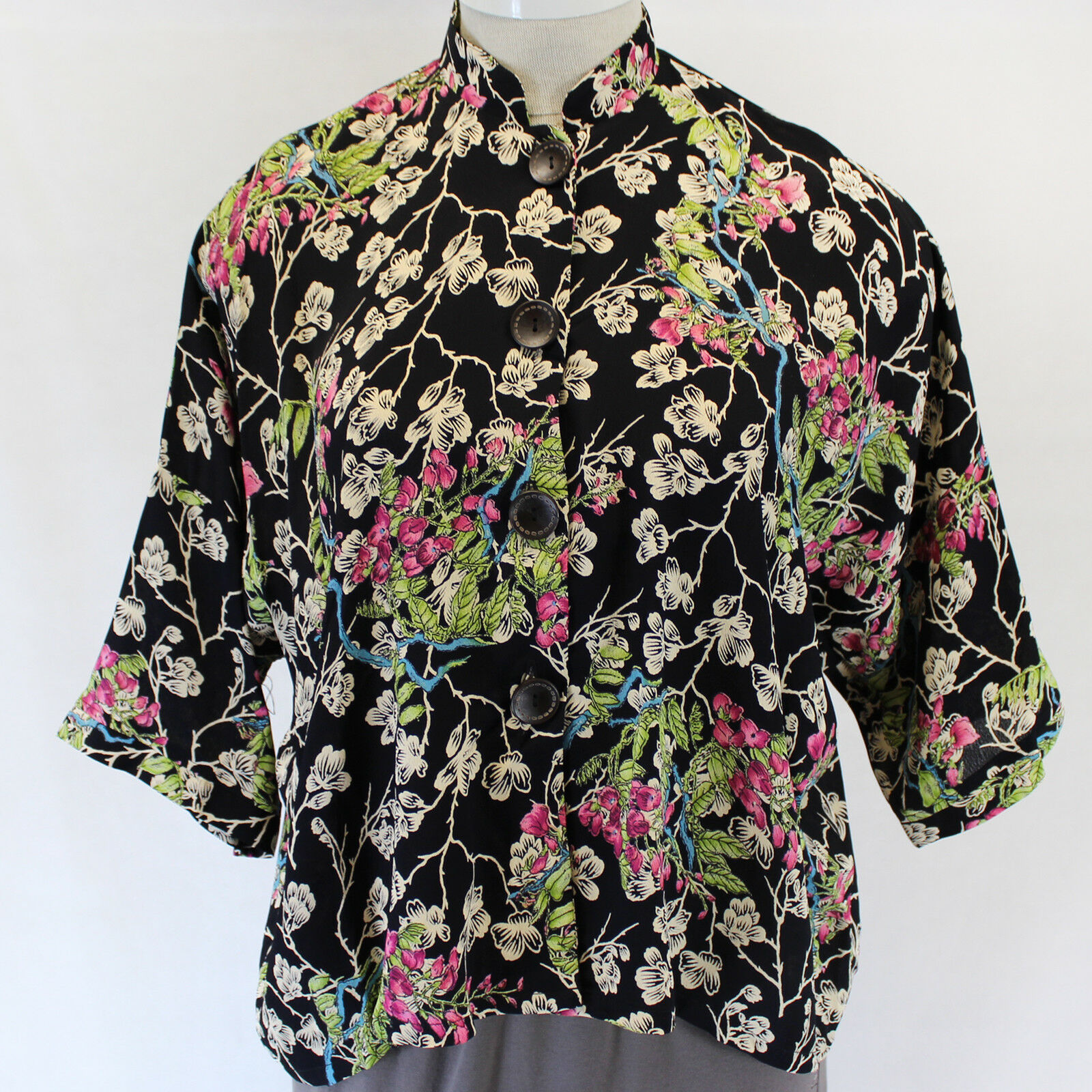 Pink Wheels Vintage Whisteria Floral Print Blouse Top One Size XL 1X 2X