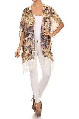 Women Kimono Cardigan Tassel Fringe Shawl Swimwear Cover-Ups Top