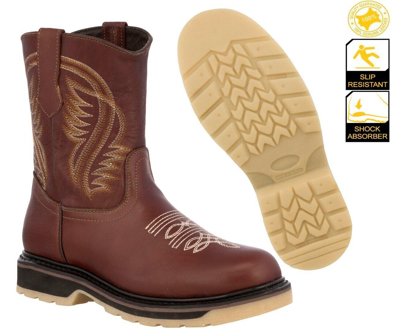 Mens Work Boots Shock Absorbing Slip Resistant Cognac Safety Toe