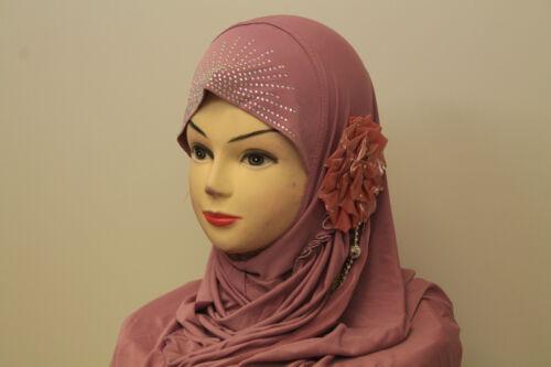 Ladies Women Beautiful One Piece Muslim Islamic Hijab Flower Diamonte Scarf