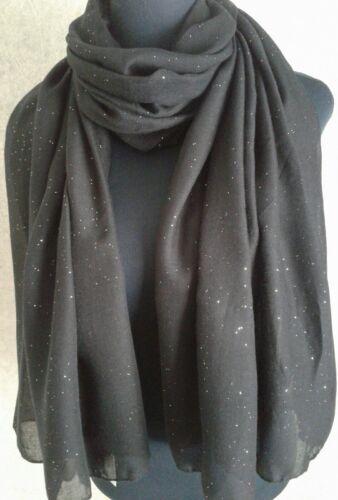 Ladies Large Black Sparkle Glitter Fashion Scarf Pashmina BNWT