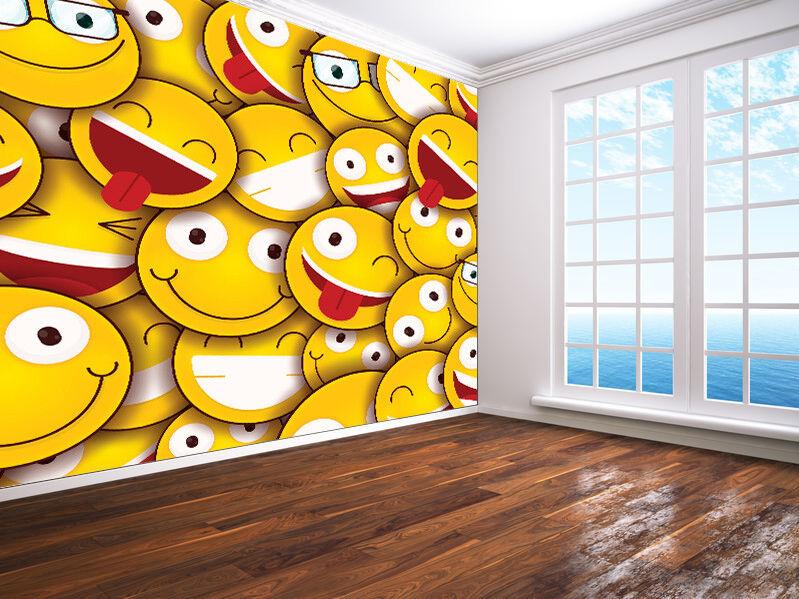 Smiley Gesichter Aufkleber Tapeten Wandbild (124140) Emoji Stil