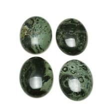 3 x Green//Black Ruby In Zoisite Flat Back 13x18mm Oval 6mm Thick Cabochon Y07410