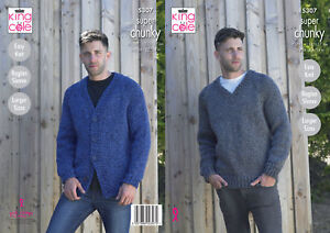 60964cfa4 Mens Super Chunky Knitting Pattern King Cole Easy Knit Cardigan ...