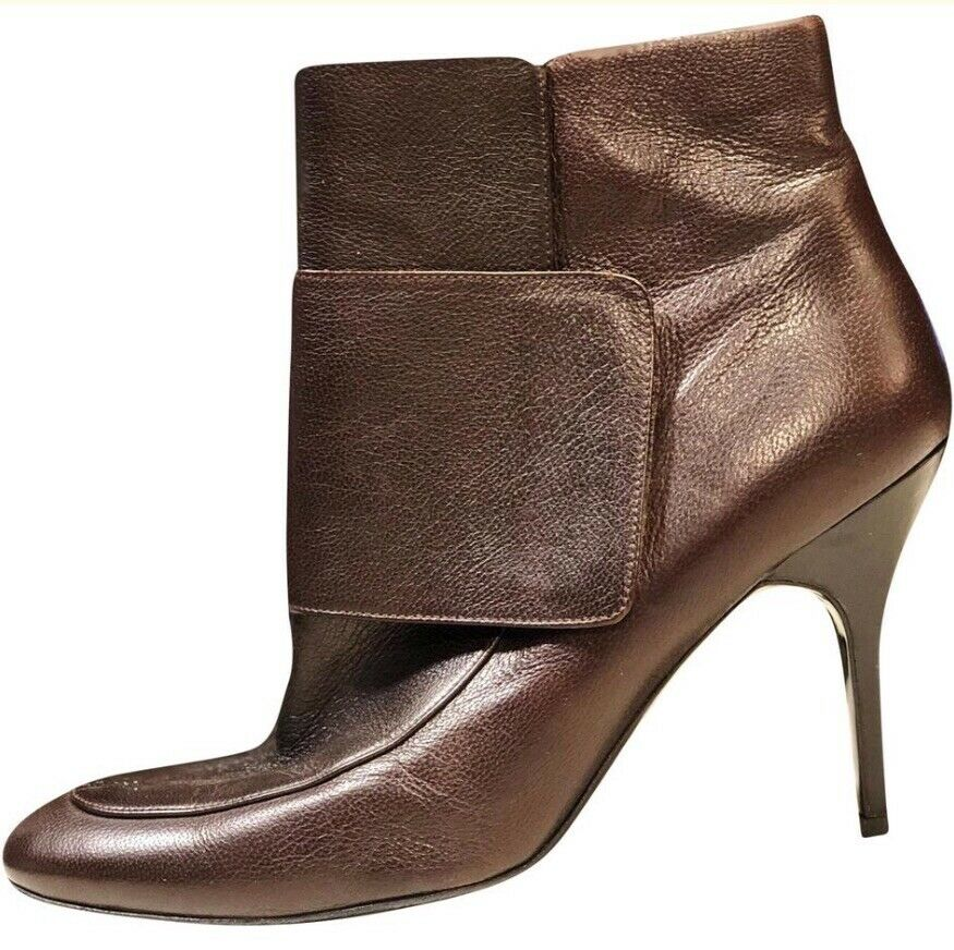 Lanvin en cuir marron arrondie Toe cheville Wrap Chaussons Bottes SZ 41 10 9.5 9