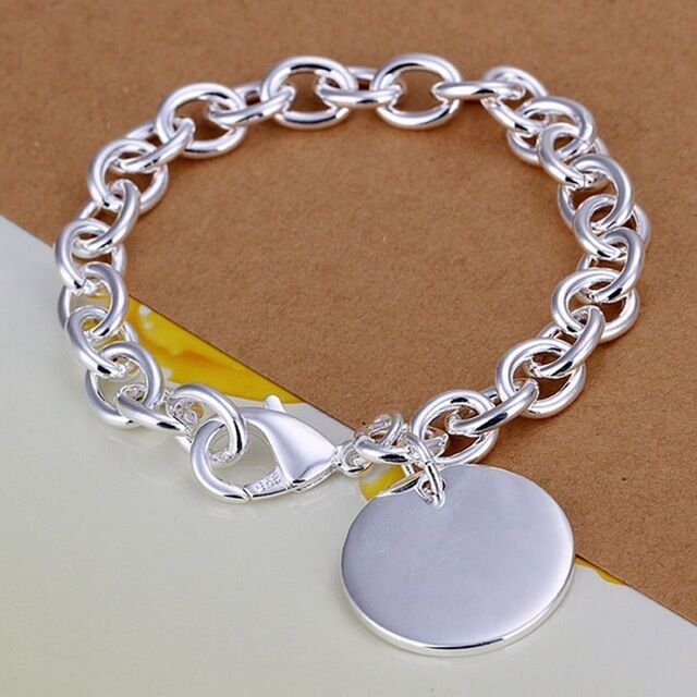 925 Sterling silver bracelet with circle tag charm