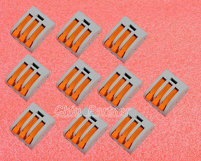 10pcs Spring lever push fit reuseable cable 3 wirePole Connector Cable Clamp