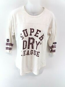 Haut-femme-SUPERDRY-Manches-3-4-T-shirt-Top-XS-en-Coton-Blanc