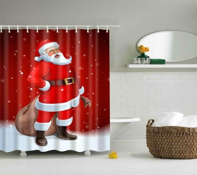 "71/"" Santa Claus Peeking Shower Curtain Christmas Home Bathroom Waterproof Decor"
