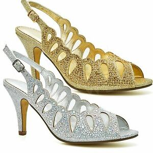 DéVoué Haut Femme Diamante Mariée Talons Hauts Sandales Femmes Chaussures à Bout Ouvert Soirée Bal Uk-afficher Le Titre D'origine Mode Attrayante