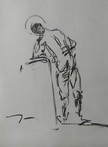 JOSE TRUJILLO MODERN Contemporary ORIGINAL CHARCOAL DRAWING Standing Figure ART