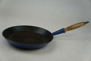 """Le Creuset #26 Cast Iron Enamel 10.5"""" Blue Skillet Frying pan"""