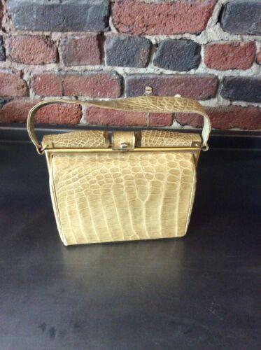 vintage bags 1960 Alligator Clutch With Brass Hard