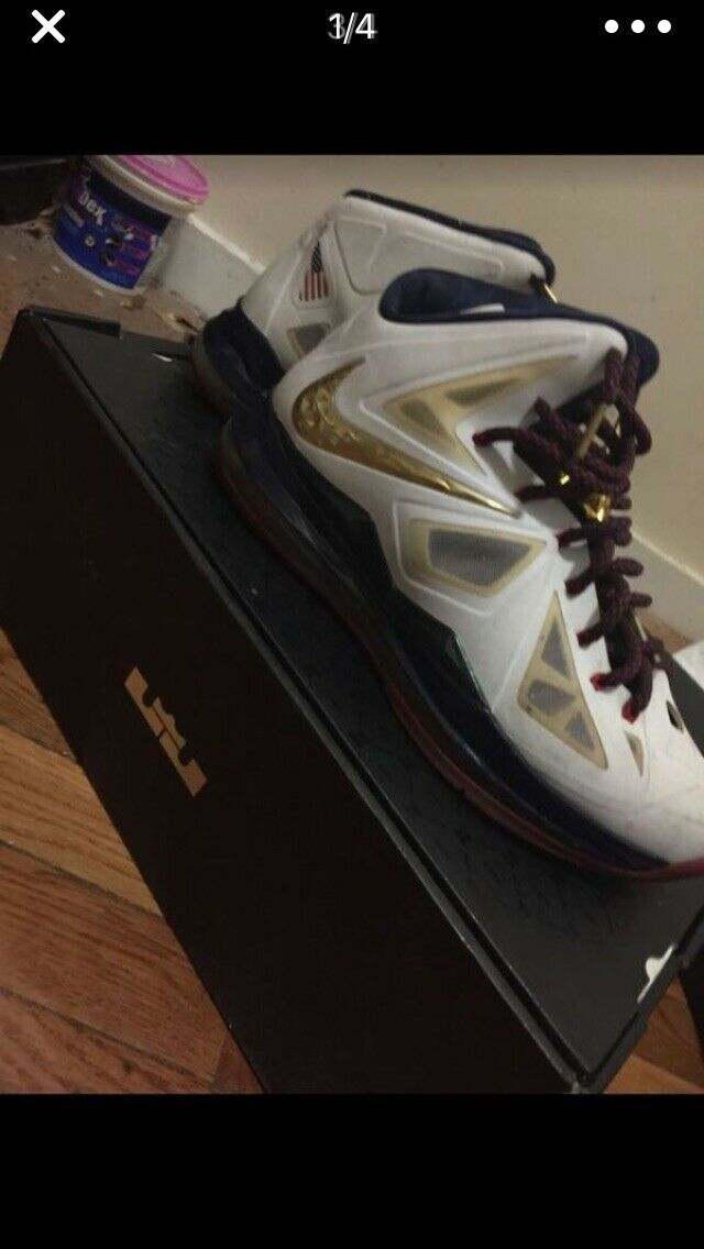 2013 Nike+ Lebron X 10 gold MEDAL Olympic USA OG Box & Accessories Size 11 8 10
