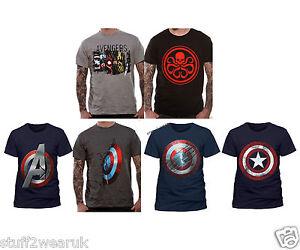 2796ece8667 OFFICIAL Captain America T Shirts Panels Hydra Emblem Avengers Logo ...