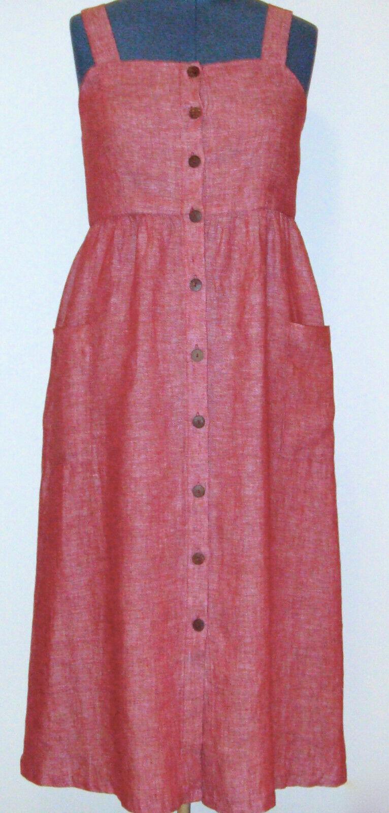 Rachel Zoe Women's Linen Dress Size M Dark Red Midi New