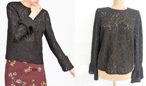 Top Zara 34lqj5ar Dentelle Crochet Au Flounce Femme En Noir sQdCxthr