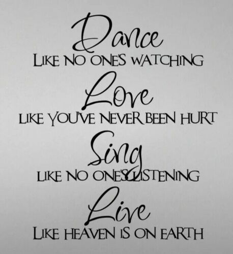 Dance Like No One Wall Art Sticker Vinyl Decals Quotes Transfer
