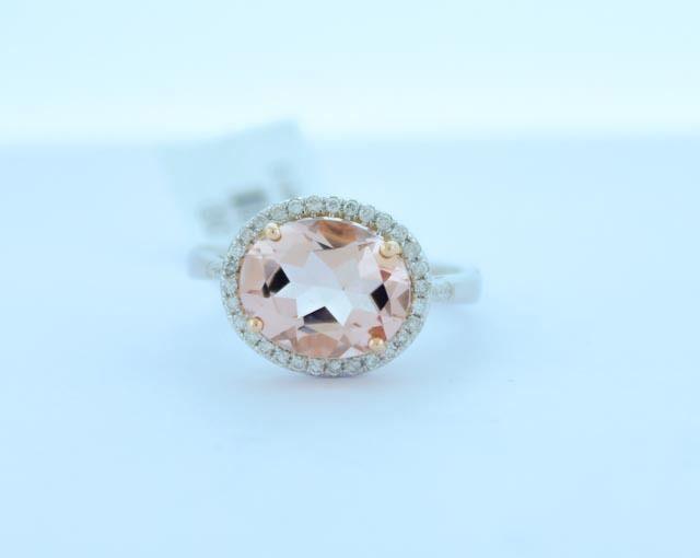 18K Multi Tone gold Pink Oval Morganite 2.91 TCW & H color Diamonds .21 TDW Ring