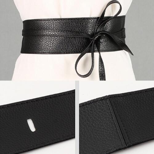 Damen Damenkleid Hüfte Gürtel Korsett Gurt breit Kunstleder Wrap Krawatte H2M6